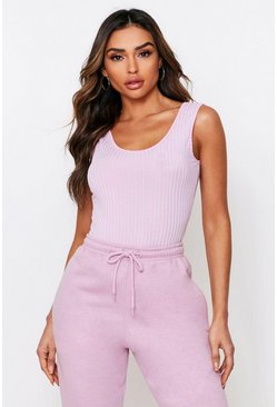 Lilac Rib Scoop Back Bodysuit