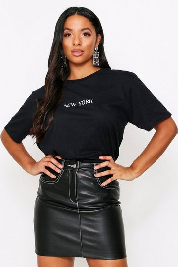 Black Contrast Stitch PU Mini Skirt