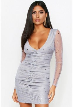 Blue Moon And Star Mesh Ruched Dress