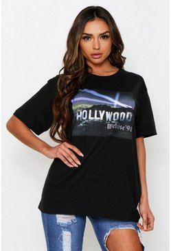 Black Hollywood Lights Oversized T-Shirt