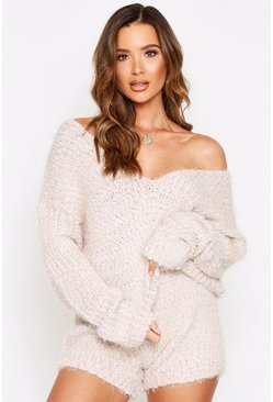 Cream Popcorn Fluffy Knitted Short Lounge Set