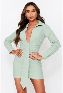 Sage Ruched Drape Front Plunge Shirt Dress