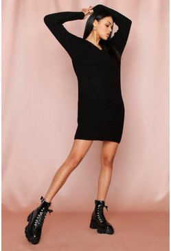 Black V-Neck Fisherman Jumper Dress