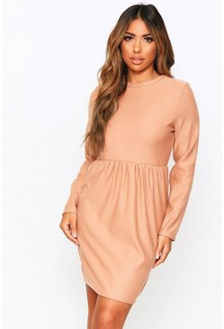 Camel Crew Neck Sweat Smock Dress