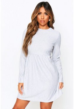 Grey marl Crew Neck Sweat Smock Dress