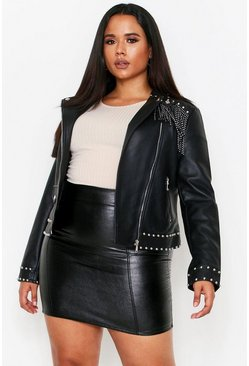 Black PU Studded Fringe Detail Biker Jacket