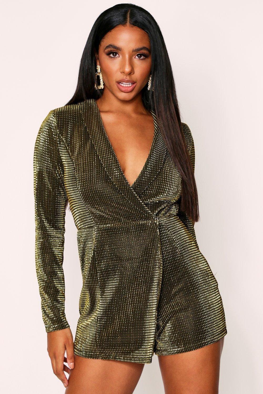 womens metallic wrap blazer romper - metallics - 6