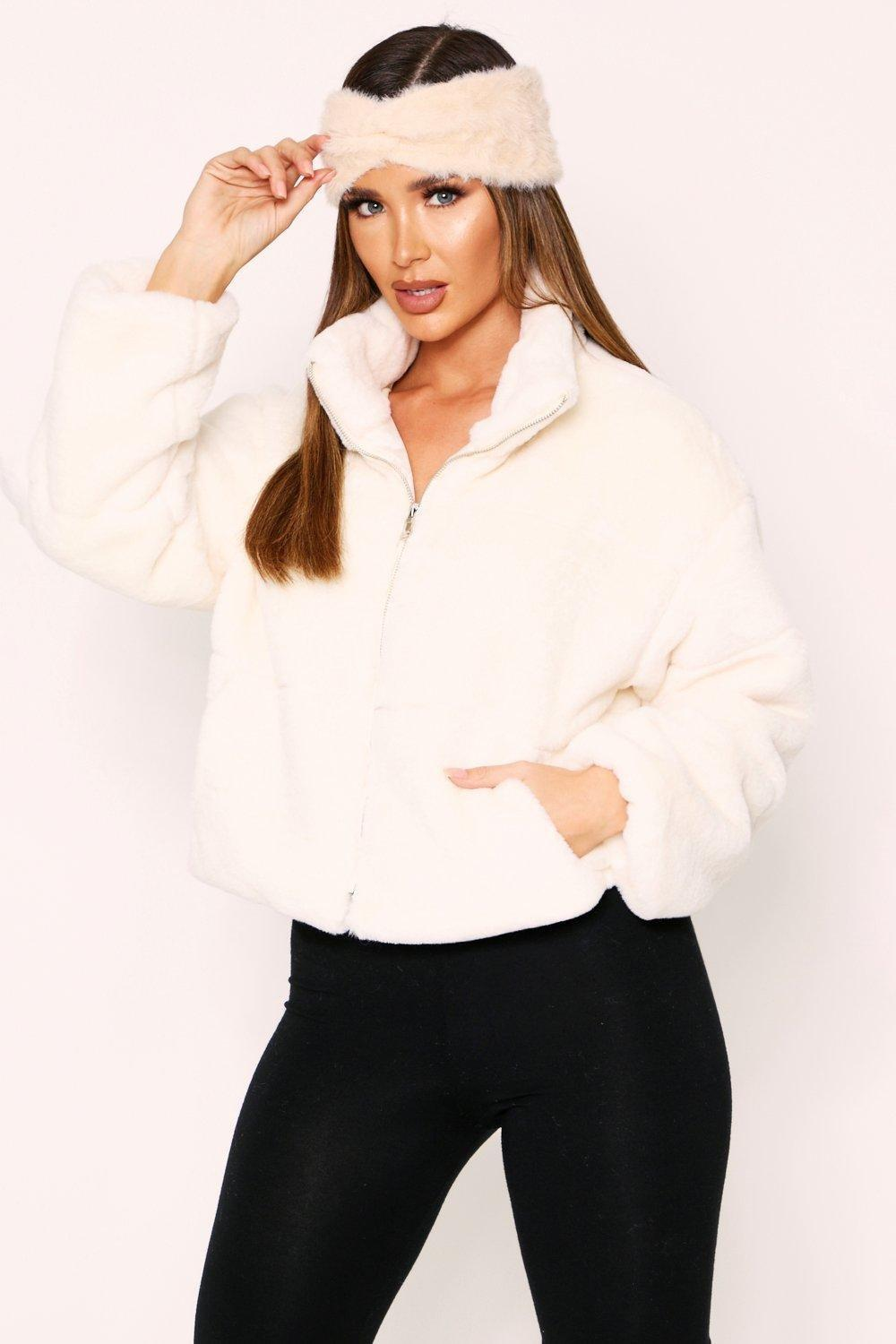 70s Jackets, Furs, Vests, Ponchos Womens Faux Fur Quilted Zip Front Jacket - white - XS $30.00 AT vintagedancer.com