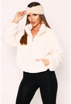 Cream Faux Fur Quilted Zip Front Jacket