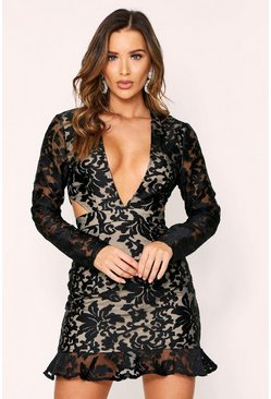 Black Embroidered Organza Cut Out Dress