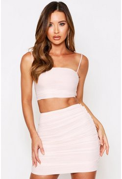 Nude Ruched skirt co ord