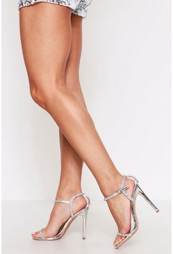 Silver Diamante Strap Detail Barely There Heels