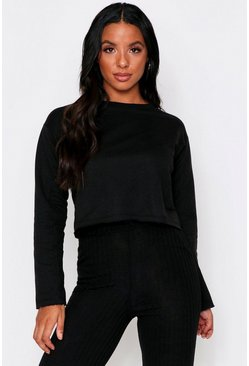 Black Raw Edge Cropped Sweatshirt