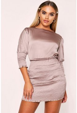 Taupe Shirred Dress
