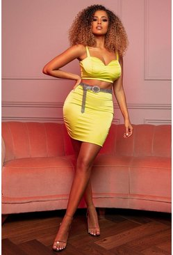 Lime Stretch Satin Double Layer Mini Skirt Co Ord