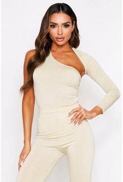 Gold One Shoulder Cut Out Thong Bodysuit