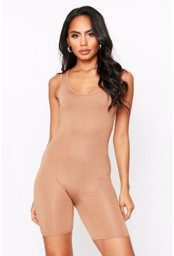 Camel Scoop Neck Short Unitard