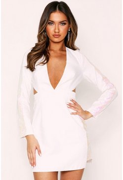 White Cut Out Sequin Panel Plunge Dress