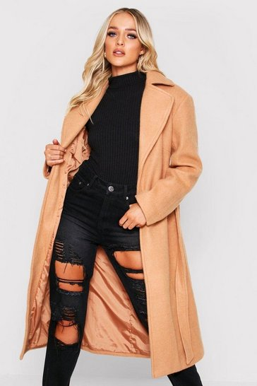 Camel Belted Wool Look Long Coat