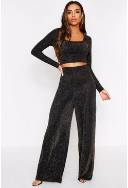 Black Glitter Long Sleeve Top + Wide Leg Coord