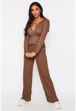 Chocolate peplum wrap wide leg lounge set