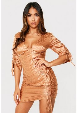 Gold Leopard Satin Ruched Front Dress