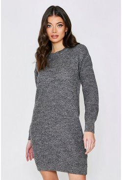 Grey Basic Waffle Knit Jumper Dress