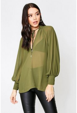 Khaki Sheer Plunge Front Tie Neck Blouse