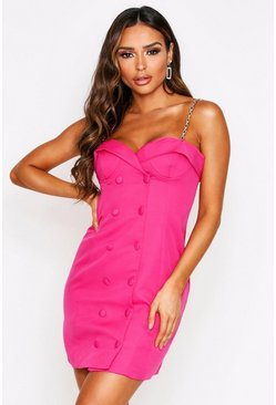 Hot pink Chain Strap Cupped Belted Mini Blazer Dress