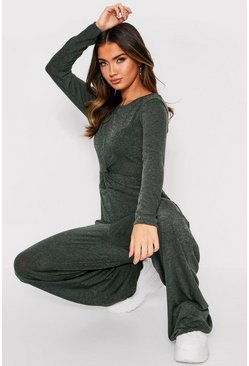 Khaki Twist Front Lounge Jumpsuit