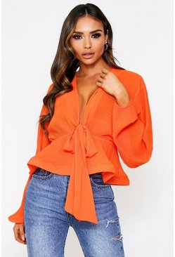 Orange pleat tie front blouse