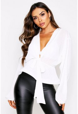 White pleat tie front blouse