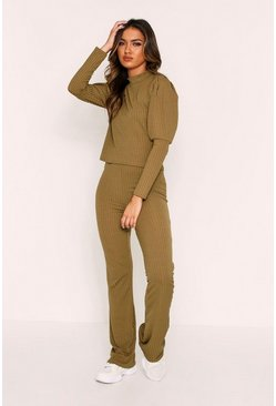 Khaki Balloon Sleeve Ribbed Set