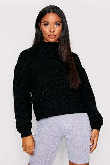 Black Balloon Sleeve Knitted Jumper