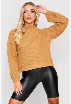 Camel Balloon Sleeve Knitted Jumper