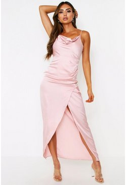 Nude Satin Cowl Neck Split Leg Maxi Dress