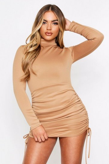 Camel Scuba Ruched Side Dress