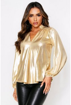 Gold Balloon Sleeve Metallic Oversized Shirt