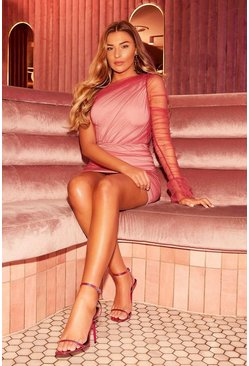 Pink One Shoulder Mesh Dress