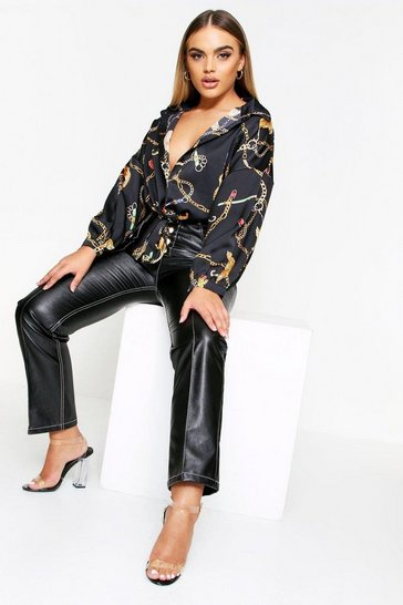 Black Chain Print Tiger Tie Front Shirt