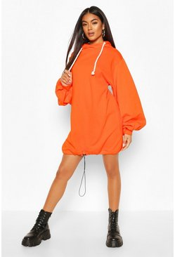 Orange Oversized Toggle Hoody Dress
