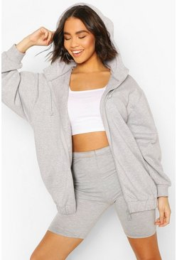 Grey marl Oversized Elasticated Waist Hoody