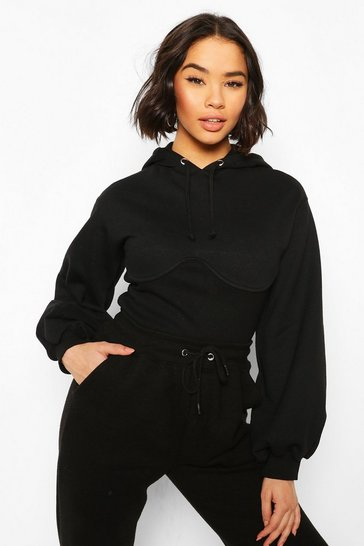 Black Corset Detail Crop Hoody