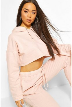 Baby pink Washed Crop Hoody Tracksuit Set