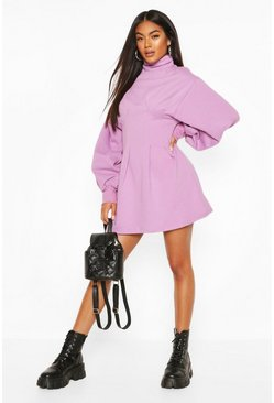 Lilac Funnel Neck Balloon Sleeve Sweat Dress