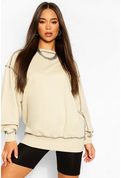 Stone Contrast Stitch Detail Oversized Sweat