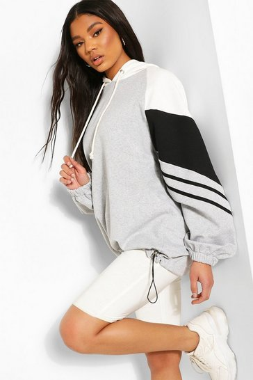 Grey Colour Block Stripe Detail Oversized Hoody