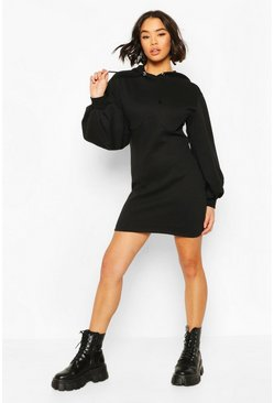 Black Corset Detail Hoody Dress