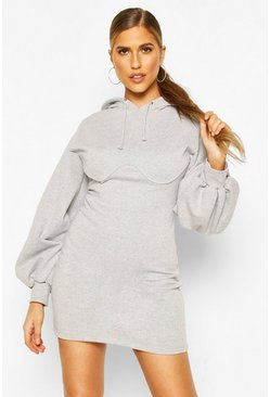 Grey marl Corset Detail Hoody Dress