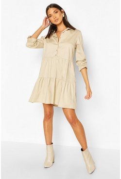 Stone Short Sleeve Smock Shirt Dress